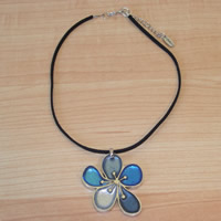 Blue and Silver Flower Necklace